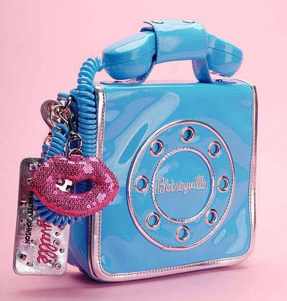 bolsa telefone azul
